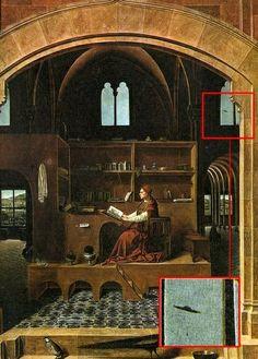 Objeto, que parece ser un satelite, en un retablo del Siglo XVI