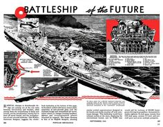 """Post with 16282 views. I stumbled across """"The Battleship of the Future"""" in a Popular Mechanics issue from /r/ImaginaryWarships] Naval History, Military History, Us Battleships, Hms Hood, Capital Ship, Concept Ships, Ex Machina, Popular Mechanics, Navy Ships"""
