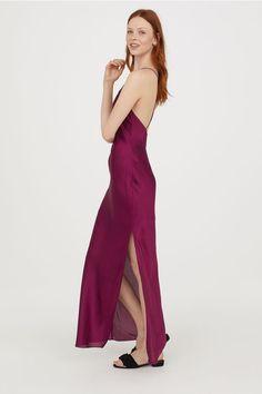 31c5030b5040 Long Satin Dress. Long Satin Dress - Dark pink ...