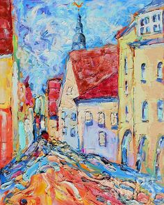 Beautiful Day in Old Riga. Riga, Beautiful Day, Greeting Cards, Wall Art, Oil Paintings, Canvas, Tela, Canvases, Oil On Canvas
