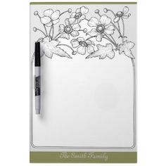 Strawberry Flowers Dry Erase Board ~ A pretty strawberry flowers Dry Erase Board to personalize with your family name.