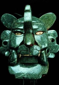 Zapotec jade mask, 200 BC-100 AD. Monte Alban. Monte Albán is a large pre-Columbian archaeological site in the Santa Cruz Xoxocotlán Municipality in the southern Mexican state of Oaxaca  via futurereflections17 Archaeology