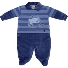 Macacão Recém Nascido e Bebê Menino em Plush Listrado Azul - Sonho Mágico :: 764 Kids   Roupa bebê e infantil