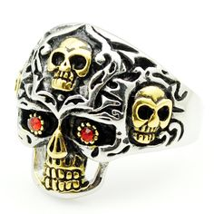 AMUMIU Promotion! Men's Red Crystal Eyes Skull Rings For Men Stainless steel Biker Rock Jewelry Fashion Punk Skeleton HR031 #Affiliate