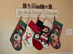 Believe to Receive stocking holder.....omg I want to it do this!!!! So cute