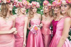 Bridesmaid Gowns: Bright Pink Satin Bridesmaids Dresses Sleeveless And Long Skirts