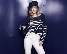 Welcome to the new nautical: the TOMMYXGIGI collection is a playful update of seafaring classics. Add nautical flair to your look with this navy blue cap. --with Gigi Hadid --