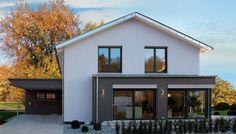 Fertighaus WEISS - Musterhaus Ulm Prefabricated Houses, Prefab Homes, Reforma Exterior, Exterior Design, Interior And Exterior, Future House, My House, Home Porch, House Extensions