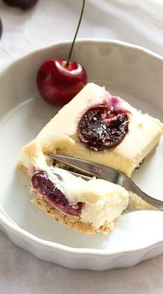 Cherry Cheesecake Bars w/ Coconutty Shortbread Crust (gluten-free)
