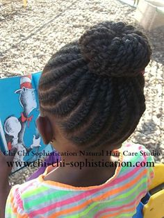 Twist & Donut Bun for Children. Styled by Keianna J of Chi Chi Sophistication Natural Hair Care Studio picFlat Twist & Donut Bun for Children. Styled by Keianna J of Chi Chi Sophistication Natural Hair Care Studio pic Lil Girl Hairstyles, Natural Hairstyles For Kids, Box Braids Hairstyles, Twist Hairstyles, Little Girl Braids, Braids For Kids, Girls Braids, Kid Braids, Flat Twist