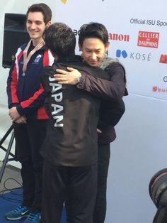 With Joshua Farris(USA) and Denis Ten(Kazakhstan)