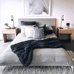 Happy Friday from one of our faves - It is windy as hell here in Melbourne, I just want to hide under the covers until the sun comes out! Bedroom Inspo, Home Decor Bedroom, Bedroom Apartment, Bedroom Ideas, Minimalist Bedroom, Modern Bedroom, My New Room, Beautiful Bedrooms, Dream Bedroom