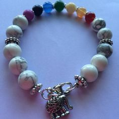 "Awesome Chakra Bracelet Chakra Bracelet with a Chinese good luck elephant charm 8"" long Handmade Jewelry Bracelets"