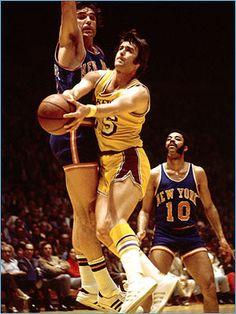 Gail Goodrich drives towards the basket vs. the Knicks.