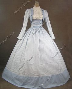 victorian day dresses | Civil War Victorian Cotton Ball Gown Day Dress Reenactment