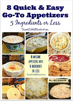 Today I am sharing eight of my favorite go-to appetizers that are quick and easy and ALWAYS a hit! These appetizers get devoured! Who says simple can't be delicious? FIESTA RANCH DIP (two variations Quick Appetizers, Finger Food Appetizers, Finger Foods, Appetizer Recipes, Dip Recipes, Salad Recipes, Hot Artichoke Dip, Appetisers, Clean Eating Snacks