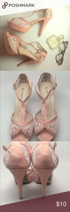 Beautiful dainty heels, lace and light pink, blush Beautiful pink suede pink and lace heels! They do show some wear but still breathing! Size 8 (yes, there is a piece of dust in my iPhone camera lens ) Top Moda Shoes Heels