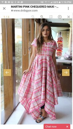 The in you will surely love this ! Color class and :) pink checkered print with ruffles Simple Kurti Designs, Kurti Neck Designs, Kurta Designs Women, Kurti Designs Party Wear, New Dress Design Indian, Long Dress Design, Indian Designer Outfits, Designer Dresses, Frock Models