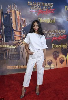 No green skin here: Zoe Saldanar reverted to a more normal skin tone at the opening of the Guardians Of The Galaxy Mission: Breakout! attraction at Disney California Adventure, in Anaheim, California, on Thursday
