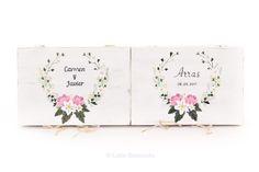 #Cajas de madera #porta #anillos y #arras. #Boda Carmen y Javier. Pintadas a mano. www.lolagranado.com