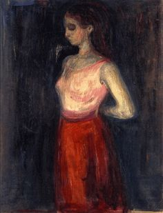 """kundst: """"Evard Munch (Nor. 1863-1944) Study of a Model (1898) Oil on paper (92 x 70 cm) """""""
