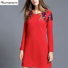 Dress Solid Black Red Female Party Dress Round Collar Full Sleeves Spring  Autumn Winter Dress Plus Size XL L M. b0a9beff61eb