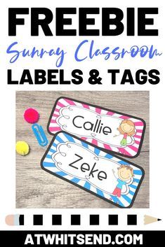 Bright and cheerful sunray classroom labels and tags are a great way to give a fresh look to your room. These labels come in a couple of varieties and are sure to have your classroom looking organized. Click on over to my website and join the At Whit's En