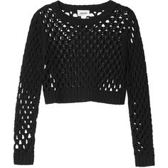 Monki Eina knitted top (45 RON) ❤ liked on Polyvore featuring tops, sweaters, shirts, crop tops, black magic, black crop shirt, long sleeve tops, black top, shirt crop top and longsleeve shirt