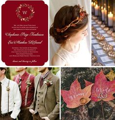"""#Wedding inspiration featuring Evermine's """"Botanical Monogram"""" Invitation Collection in deep red."""