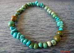 Turquoise Beaded Stretch Bracelet by bumbalilliesbling on Etsy, $8.00