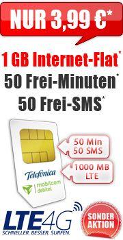 Smart Surf LTE 1 GB 3,99 mit O2 Smart Surf LTE 3.99 Aktion Vertrag! bestellen