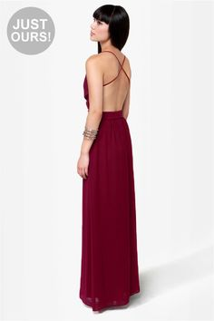 LULUS Exclusive Rooftop Garden Backless Burgundy Maxi Dress at Lulus.com!