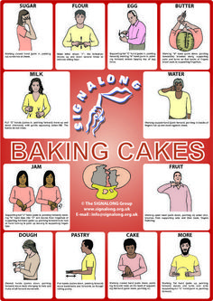 Baking Cakes Signs Poster - BSL (British Sign Language)Tap the link to check out great fidgets and sensory toys. Check back often for sales and new items. Happy Hands make Happy People! Sign Language Chart, Sign Language For Kids, Sign Language Phrases, Sign Language Alphabet, Sign Language Interpreter, British Sign Language, Learn Sign Language, Foreign Language, Language Dictionary