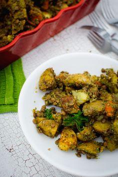 roasted yukon potatoes & carrots w/ middle eastern lentils & parsley balsamic pesto | vegan + gluten-free // bring joy