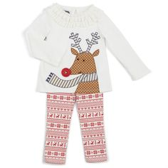 2-piece set. Cotton interlock reindeer tunic features multi-fabric reindeer applique withdimensional red button nose, fringed terry neckline and keyhole back. Comes with Fair Isle cotton spandex leggings.
