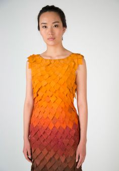 reactive fall dress by birce özkan defoliates like autumn trees