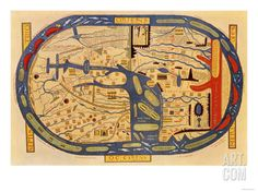 World Map of the Flat Earth Printed by Beatus Rhenanus Bildaus Rheinau, 16th Century Giclee Print at Art.com