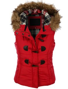 Keep yourself cozy and well protected in this classic toggle Padded puffer plaid jacket vest with faux fur trim hood. Offering maximum comfort through out the entire day, this puffer vest goes well wi Red Puffer Vest, Red Vest, Women's Puffer, Navy Vest, Puffy Jacket, Vest Jacket, Plaid Jacket, Red Waistcoat, Hooded Vest