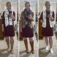 3 ways to wear one dress- dress with sneakers and quilted vest for fall or spring, dress with boots for fall and winter #fashionover40 How To Wear Sneakers, Dress With Sneakers, Dress With Boots, Quilted Vest, Fashion Over 40, Try On, Suits, Chic, Stylish