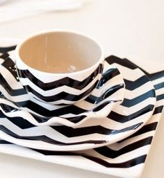Black Chevron dinnerware table setting. Find it ...at Mary's!!!