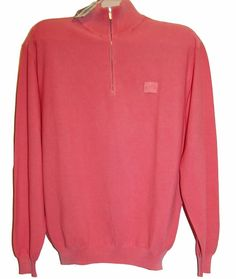 Paul & Shark Yachting AUTHENTIC Pink Cotton Men's Italian Shirt Sweater Sz L #PaulSharkYachting #12Zip
