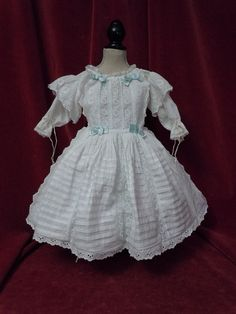 Exquisite Antique Classic white work Batiste Dress for french bisque from believe on Ruby Lane