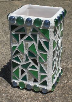 Green Stained Glass & Mirror Mosaic Vase