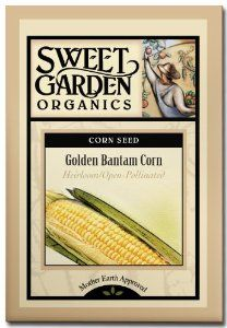 """Golden Bantam Corn - Heirloom seeds by Sweet Garden Organics. $3.29. Old-time favorite heirloom of yellow sweet corn. 6' tall plants with 7"""" ears that are plump and ultra-sweet. 80 days to harvest. Heirloom Seeds. 80 seeds - open-pollinated so you can harvest seed and save for next year's planting!. Golden Bantam is one of the old-time favorite heirloom varieties of yellow sweet corn. The plants grow to 6' tall and produce long, tender 7"""" ears that are plump and ultra-sweet..."""