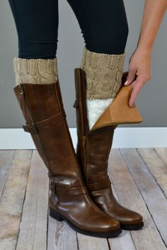 Mocha & Ivory Reversible Boot Cuffs | { bootcuffsocks.com }
