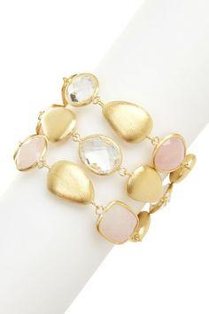 18K Gold Clad Rose Quartz, Rock Crystal & Pebble 3-Row Bracelet by Rivka Friedman on @HauteLook