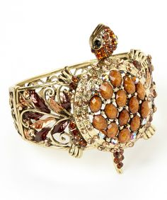 Look what I found on #zulily! Goldtone & Brown Rhinestone Turtle Hinge Bangle by Punky Jewels #zulilyfinds