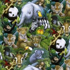 Kinderstoffe - Soft Polar Fleece, Panda, Tiger,  Zebra, Oang Utan - ein Designerstück von ABC-Designerin bei DaWanda