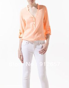 Aliexpress.com : Buy Long Sleeve Hot Brand Hot Fashion Women Shirt V neck  Blouse for Women 2013 6 Color Free Shipping from Reliable Zar Brand suppliers on Buy Me Store $10.98