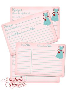 Recipe Cards- Retro Style, Double Sided with Vintage Apron Clip  $4.50, |via Etsy.